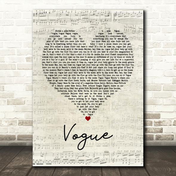 Madonna Vogue Script Heart Song Lyric Framed Print