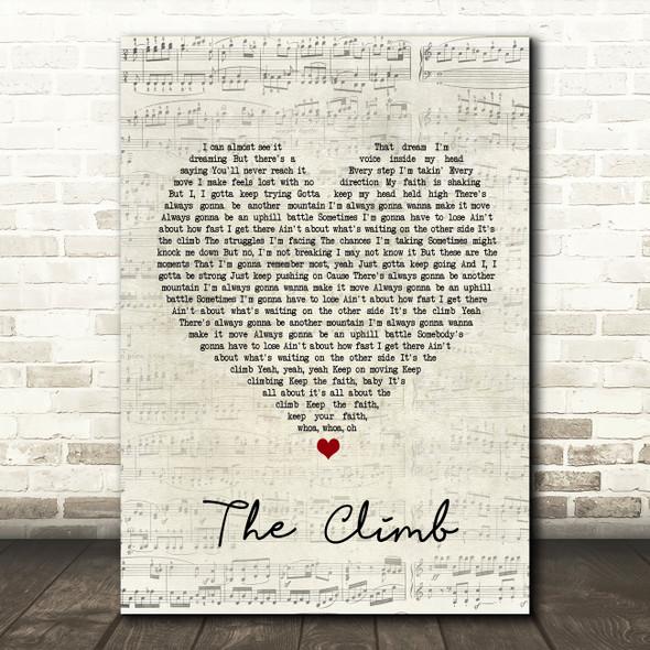 Miley Cyrus The Climb Script Heart Song Lyric Framed Print