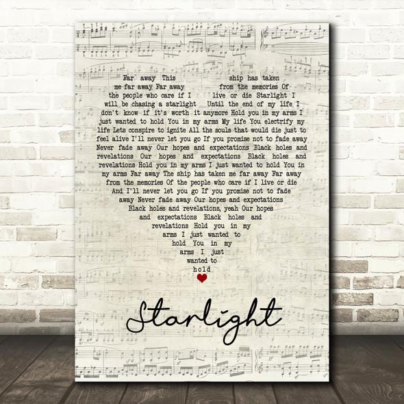 Muse Starlight Script Heart Song Lyric Framed Print