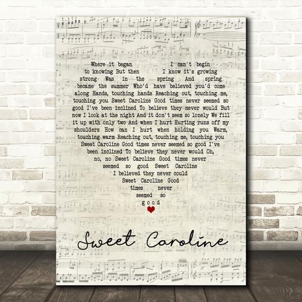 Neil Diamond Sweet Caroline Script Heart Song Lyric Framed Print