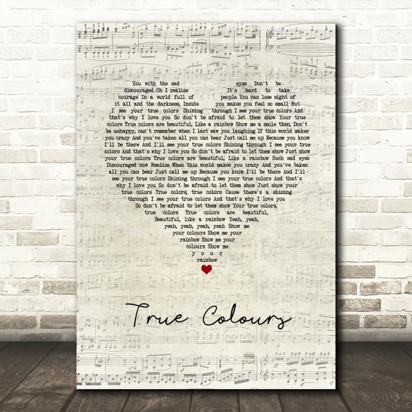 Phil Collins True Colours Script Heart Song Lyric Framed Print