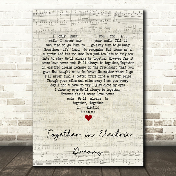 Philip Oakey Giorgio Moroder Together in Electric Dreams Script Heart Song Lyric Framed Print