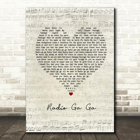 Queen Radio Ga Ga Script Heart Song Lyric Framed Print