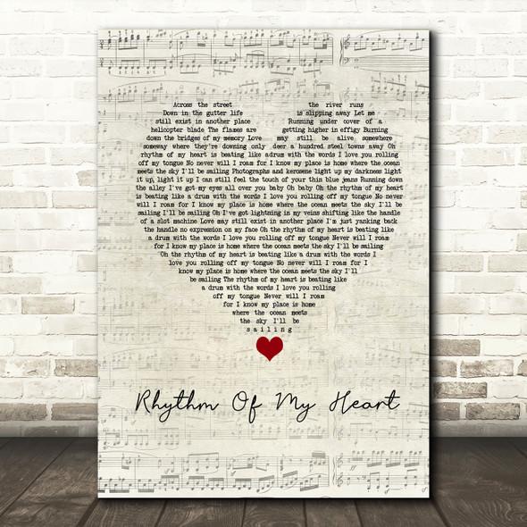 Rod Stewart Rhythm Of My Heart Script Heart Song Lyric Framed Print