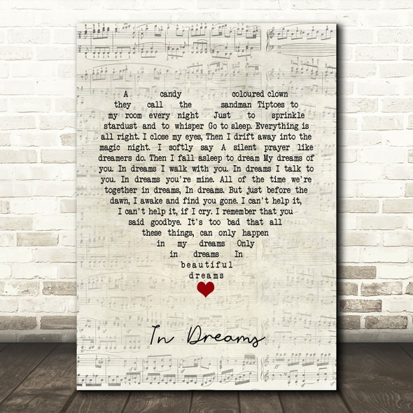 Roy Orbison In Dreams Script Heart Song Lyric Framed Print