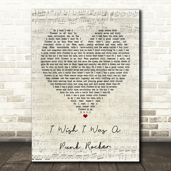 Sandi Thom I Wish I Was A Punk Rocker Script Heart Song Lyric Framed Print