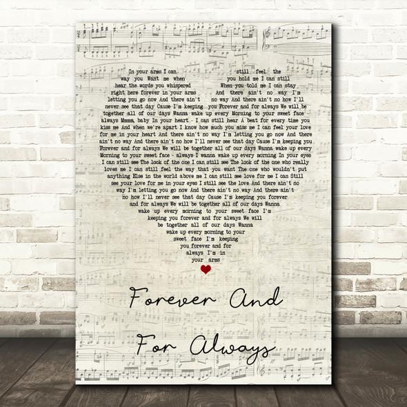Shania Twain Forever And For Always Script Heart Song Lyric Framed Print