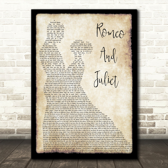 Dire Straits Romeo And Juliet Man Lady Dancing Song Lyric Quote Print