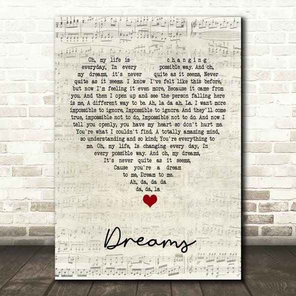 The Cranberries Dreams Script Heart Song Lyric Framed Print