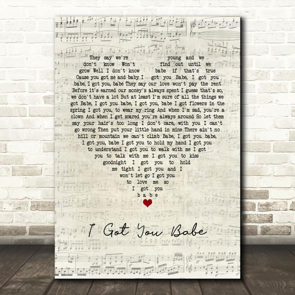 UB40 I Got You Babe Script Heart Song Lyric Framed Print
