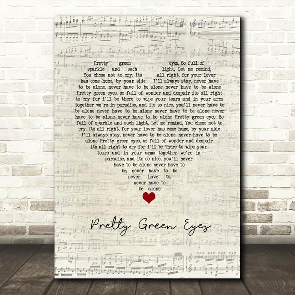 Ultrabeat Pretty Green Eyes Script Heart Song Lyric Framed Print