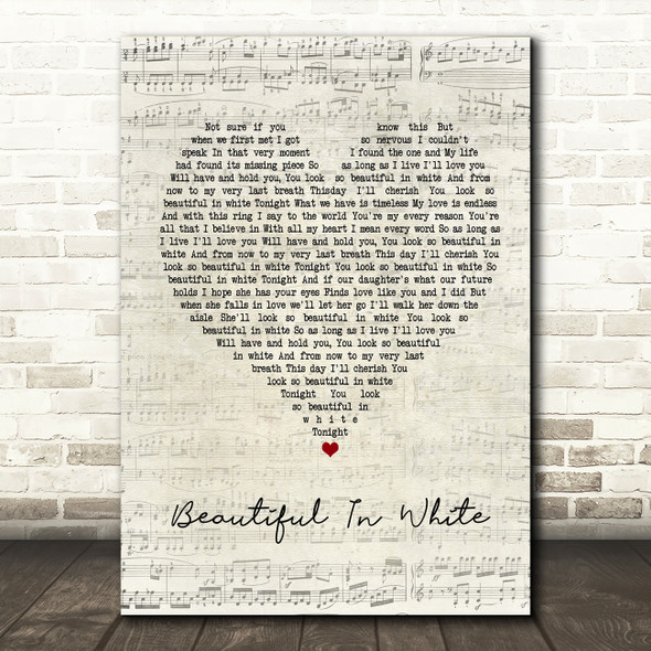 Westlife Beautiful In White Script Heart Song Lyric Framed Print