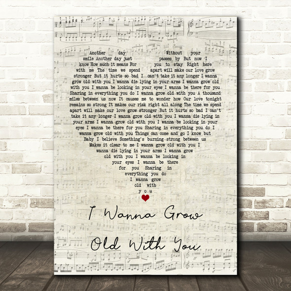 Westlife I Wanna Grow Old With You Script Heart Song Lyric Framed Print