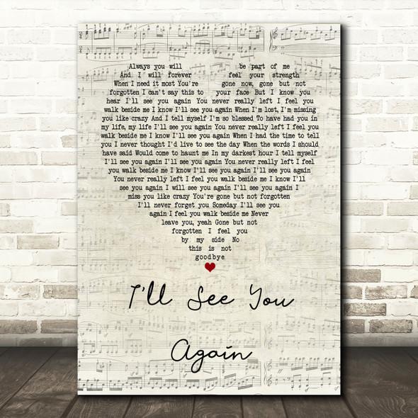 Westlife I'll See You Again Script Heart Song Lyric Framed Print