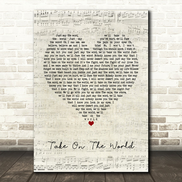 You Me At Six Take On The World Script Heart Song Lyric Framed Print