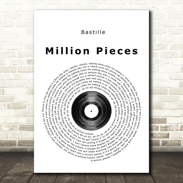 Bastille Million Pieces Vinyl Record Song Lyric Framed Print