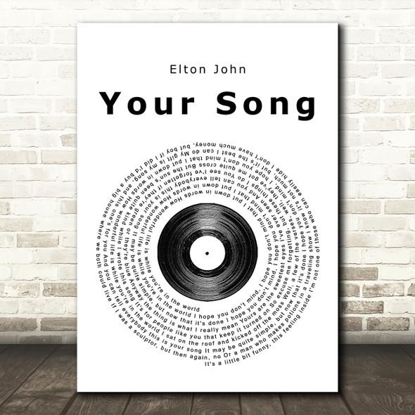 Elton John Your Song Vinyl Record Song Lyric Framed Print