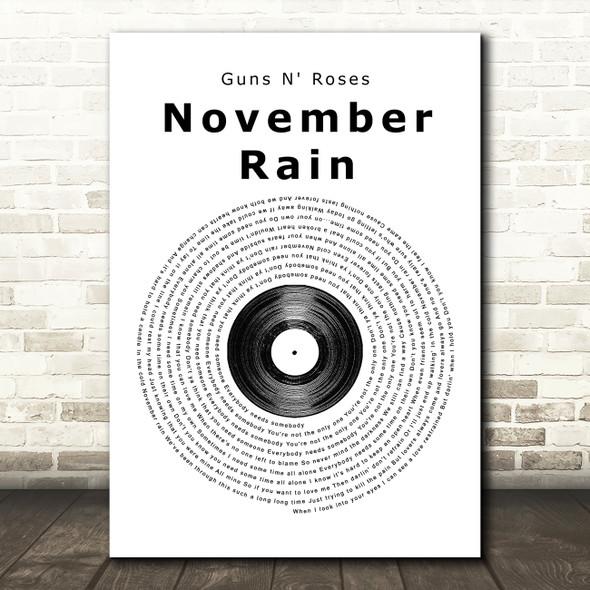 Guns N' Roses November Rain Vinyl Record Song Lyric Framed Print