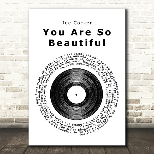 Joe Cocker You Are So Beautiful Vinyl Record Song Lyric Framed Print