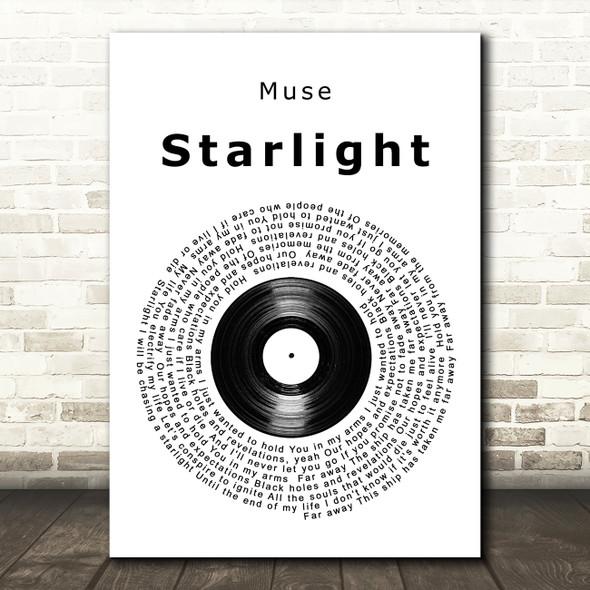 Muse Starlight Vinyl Record Song Lyric Framed Print