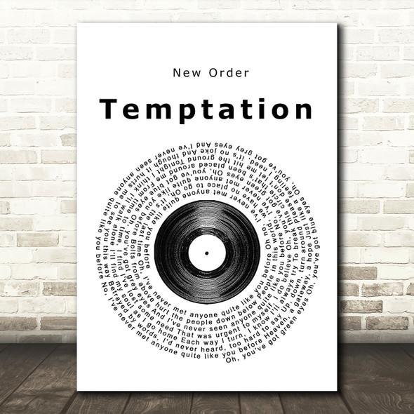 New Order Temptation Vinyl Record Song Lyric Framed Print