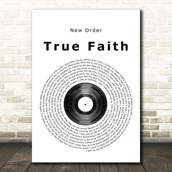 New Order True Faith Vinyl Record Song Lyric Framed Print