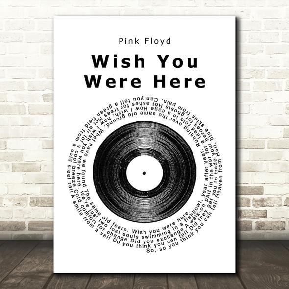 Pink Floyd Wish You Were Here Vinyl Record Song Lyric Framed Print