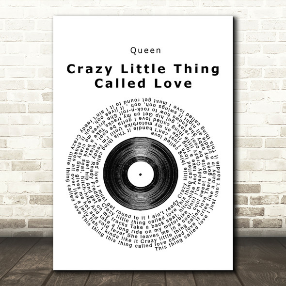 Queen Crazy Little Thing Called Love Vinyl Record Song Lyric Framed Print
