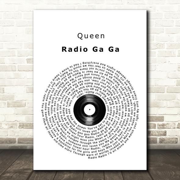Queen Radio Ga Ga Vinyl Record Song Lyric Framed Print