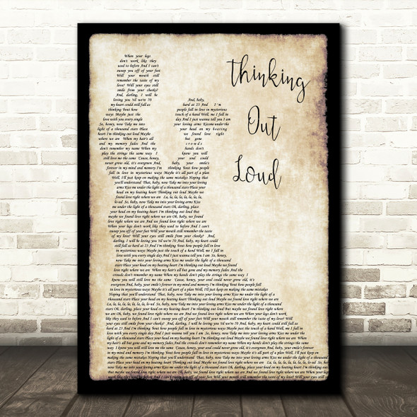 Ed Sheeran Thinking Out Loud Song Lyric Man Lady Dancing Quote Print