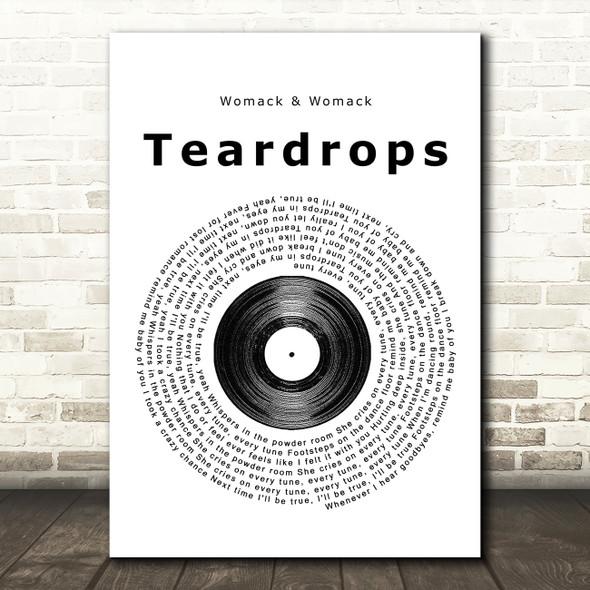 Womack & Womack Teardrops Vinyl Record Song Lyric Framed Print