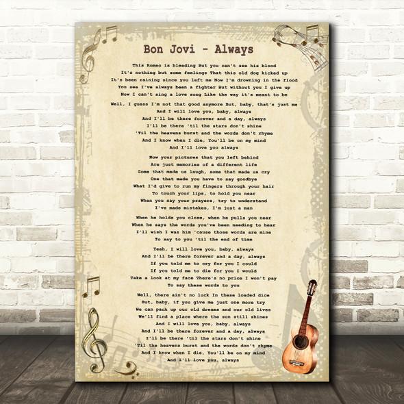 Bon Jovi Always Vintage Guitar Song Lyric Framed Print