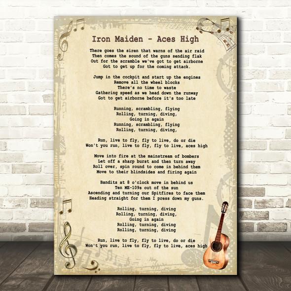 Iron Maiden Aces High Vintage Guitar Song Lyric Framed Print