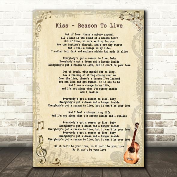 Kiss Reason To Live Vintage Guitar Song Lyric Framed Print