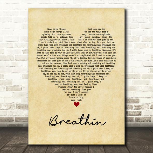 Ariana Grande Breathin Vintage Heart Song Lyric Framed Print