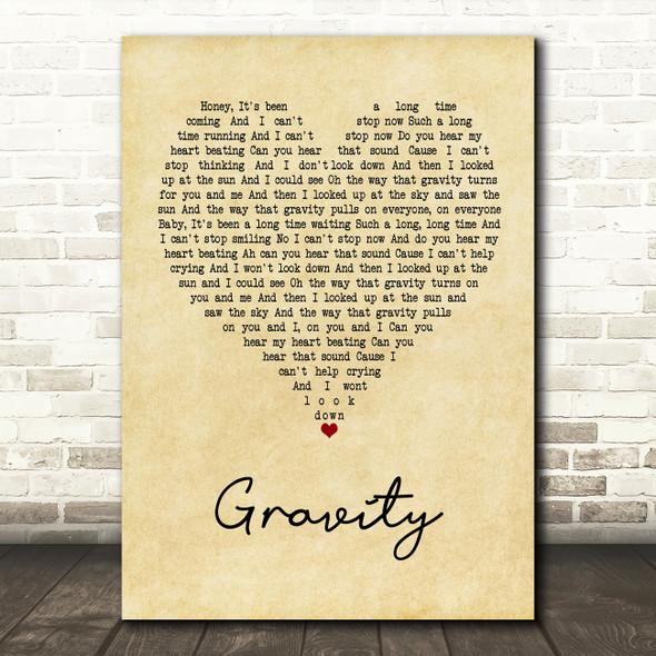 Embrace Gravity Vintage Heart Song Lyric Framed Print