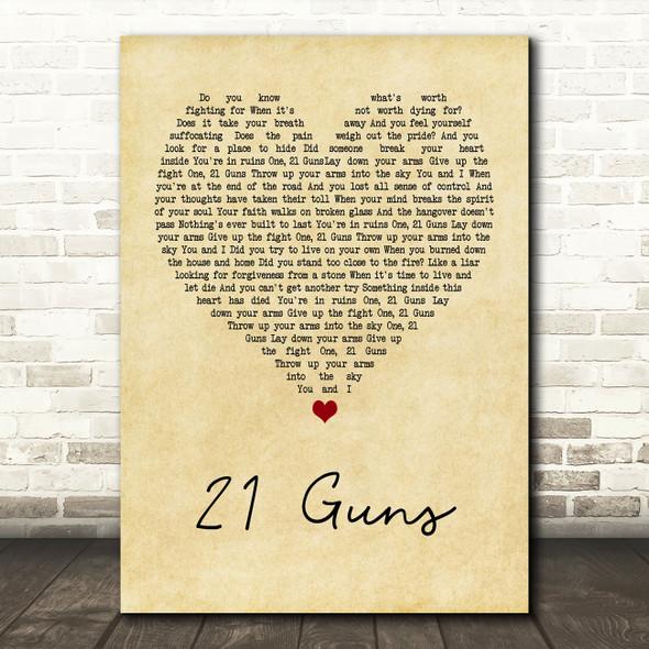 Green Day 21 Guns Vintage Heart Song Lyric Framed Print