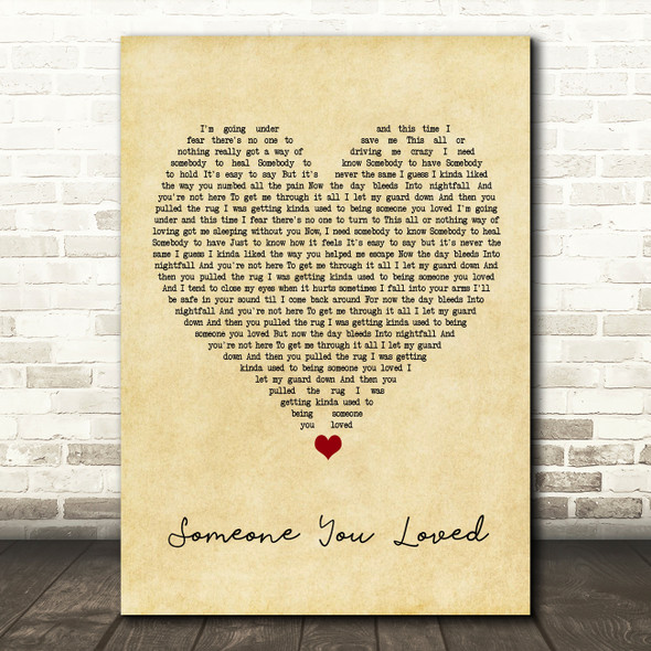 Lewis Capaldi Someone You Loved Vintage Heart Song Lyric Framed Print