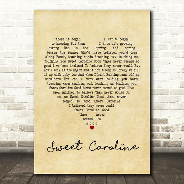 Neil Diamond Sweet Caroline Vintage Heart Song Lyric Framed Print