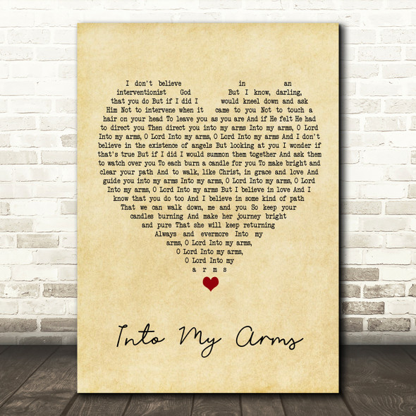 Nick Cave & The Bad Seeds Into My Arms Vintage Heart Song Lyric Framed Print
