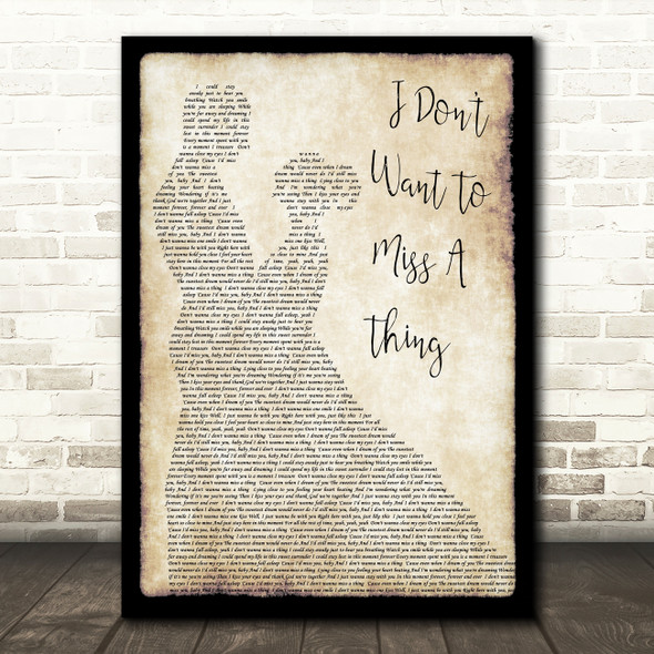 Aerosmith I Don't Want To Miss A Thing Song Lyric Man Lady Dancing Quote Print