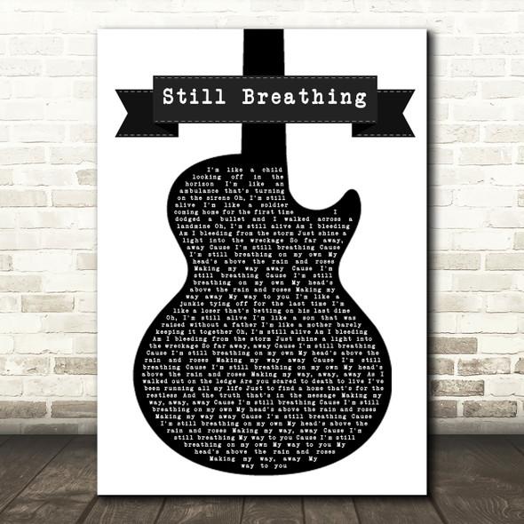 Green Day Still Breathing Black & White Guitar Song Lyric Framed Print