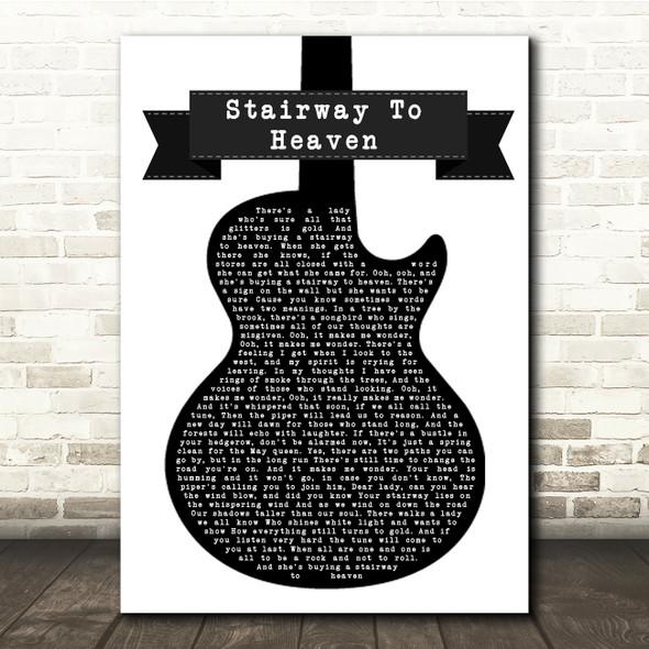 Led Zeppelin Stairway To Heaven Black & White Guitar Song Lyric Print