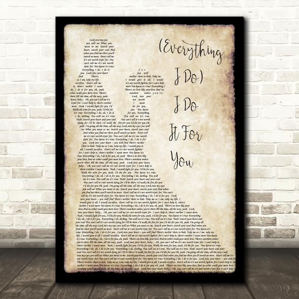 Bryan Adams Everything I Do I Do It For You Song Lyric Man Lady Dancing Print