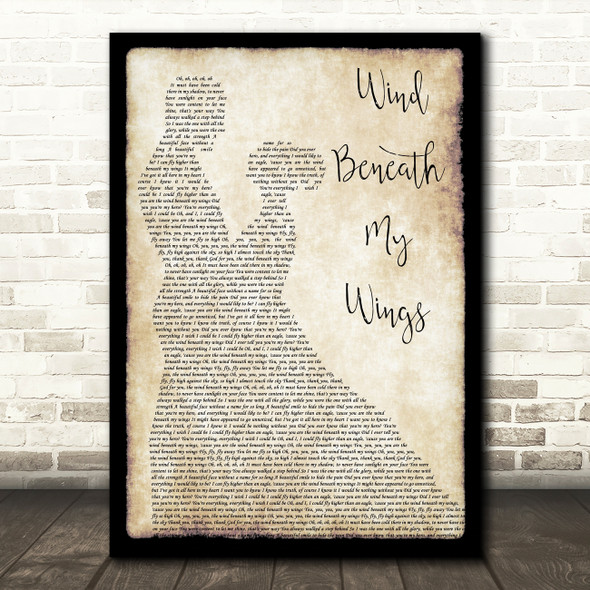 Bette Midler Wind Beneath My Wings Song Lyric Man Lady Dancing Quote Print