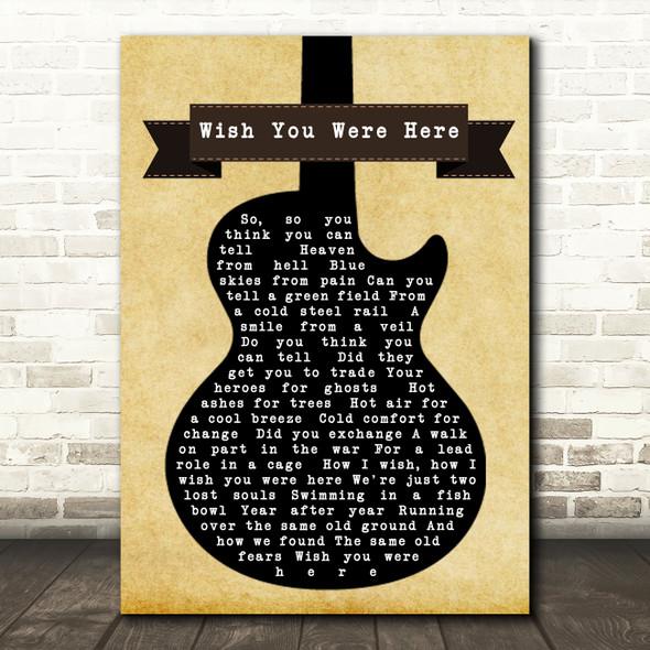 Pink Floyd Wish You Were Here Black Guitar Song Lyric Print