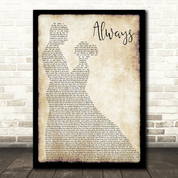 Bon Jovi Always Song Lyric Man Lady Dancing Quote Print