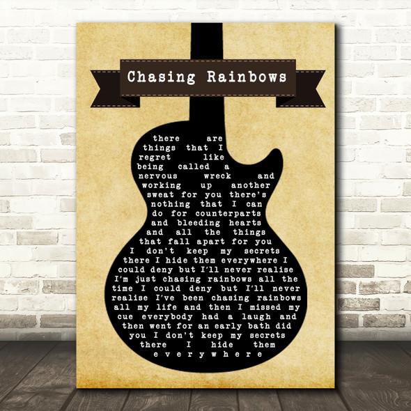 Shed Seven Chasing Rainbows Black Guitar Song Lyric Print