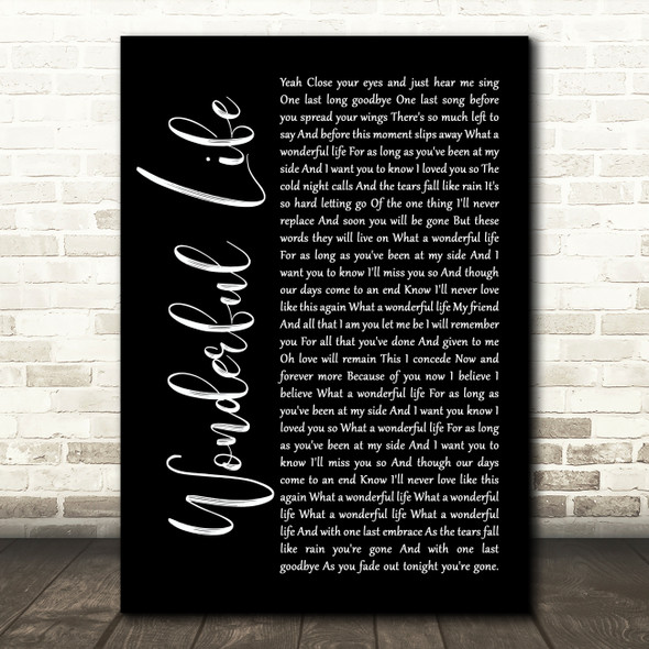 Alter Bridge Wonderful Life Black Script Song Lyric Print