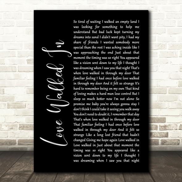 Thunder Love Walked In Black Script Song Lyric Print